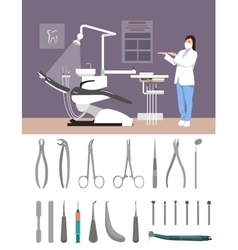 Dentist clinic interior flat vector image