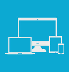 flat white electronic devices on blue background vector image vector image