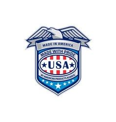 Made in america eagle patriotic shield retro vector