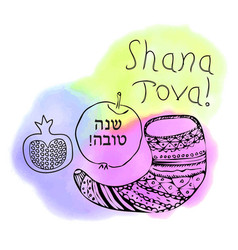 shofar apple pomegranate doodle shana tova vector image