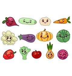 Vegetables kawaii characters vector image vector image