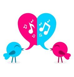 2 love bird with speech bubble in shape heart vector