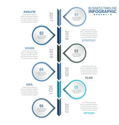 6 steps business infographics strategy timeline vector image