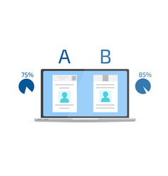 a-b comparison split testing concept with vector image