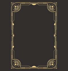 Art deco border template vector