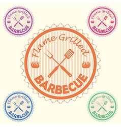 Barbecue label stamp design element with text vector