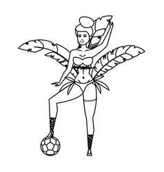 Beautiful brazilian garota with soccer balloon vector