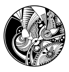 Black and white abstract zendala on circle vector
