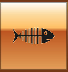 black fish skeleton icon isolated on gold vector image