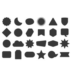 Black silhouette random empty shapes icons set vector