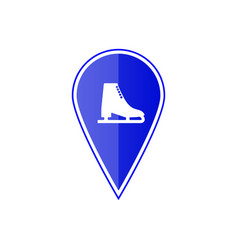 Blue map pointer with ice skate vector