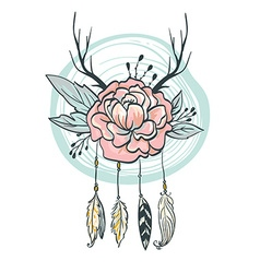 Boho style card Flowers feathers horns and leaves vector