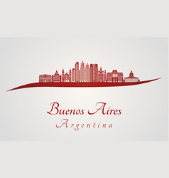 buenos aires v2 skyline in red vector image