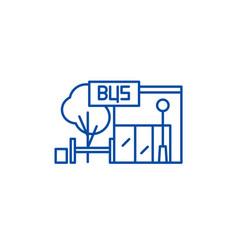 bus stop line icon concept bus stop flat vector image