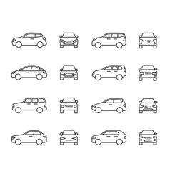 Cars front and side view line signs auto symbols vector