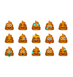 cartoon poop emoticons set vector image