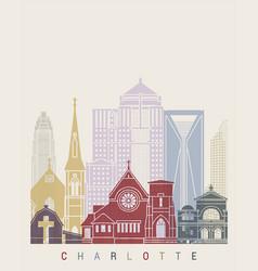 Charlotte v2 skyline poster vector