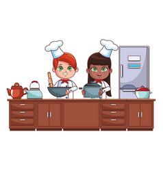 chefs kids cartoon vector image