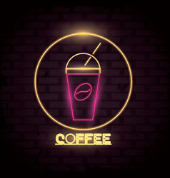 coffee neon lights icon vector image