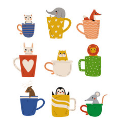 collection cute animals in teacups adorable vector image