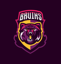 Colorful logo bear s head an aggressive beast a vector