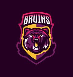 Colorful logo bear s head an aggressive beast vector