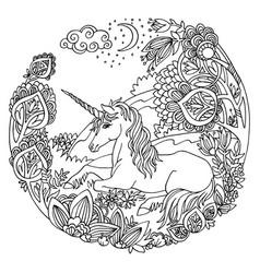 coloring unicorn 5 vector image