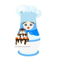 Confectioner with cake vector
