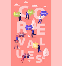 Core values concept tiny male and female vector