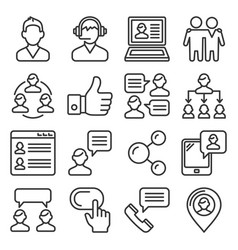 customer and business people icons set line style vector image