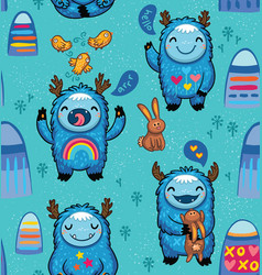 Cute monsters friendly seamless pattern vector