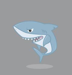 Cute shark cartoon character vector