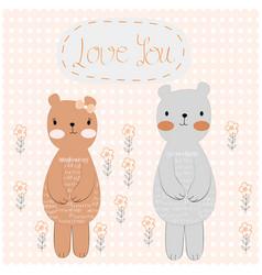 cute teddy bear couple in polka dot background vector image
