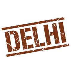 Delhi brown square stamp vector