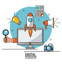 digital marketing computer technology online vector image