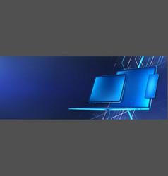 Digital tech concept blue gadgets vector