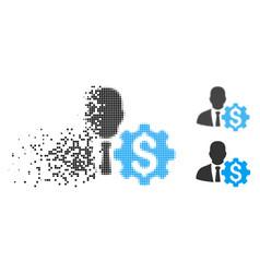 Disintegrating pixel halftone banker options gear vector