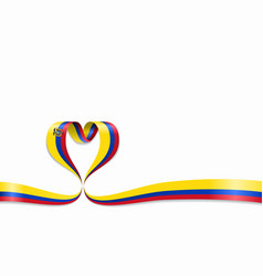 ecuadorian flag heart-shaped ribbon vector image