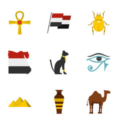 Egypt travel icons set cartoon style vector