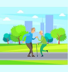elderly couple dancing outdoor dancers vector image