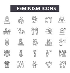 Feminism line icons for web and mobile design vector
