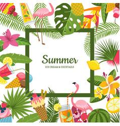 Flat cute summer cocktails flamingo palm vector