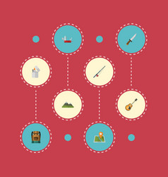 Flat icons bag hill fishing and other vector