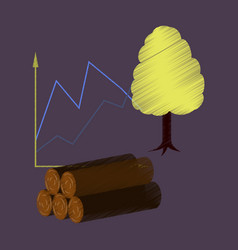 Flat shading style icon wood infographics vector