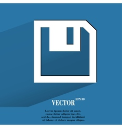 floppy disk Flat modern web button with long vector image