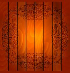 floral frame on wood background vector image