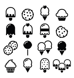 Food desserts icons - cupcake ice-cream cookie vector image