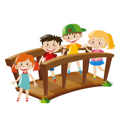 four kids crossing wooden bridge vector image