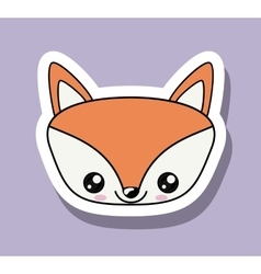 Fox character kawaii style isolated icon design vector