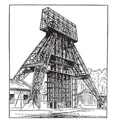 German steel mining headgear hoist tower vintage vector